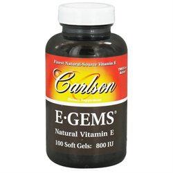 Carlson Laboratories E-Gems 800 IU - 100 Softgels - Vitamin E D'Alpha