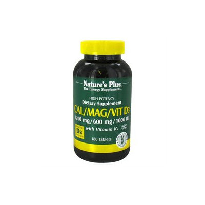 Nature's Plus Cal/Mag/Vit D3 with Vitamin K2 180 tablets