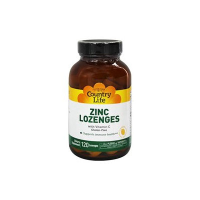 Country Life Zinc Lozenges with Vitamin C Lemon - 120 Lozenges