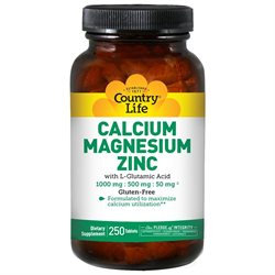Calcium Magnesium Zinc 250 Tab By Country Life Vitamins (1 Each)