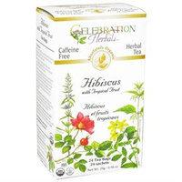 Celebration Herbals Organic Hibiscus with Tropical Fruit Tea Caffeine Free - 24 Tea Bags