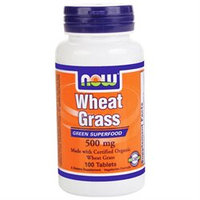 NOW Foods - Wheat Grass Organic Non-GE 500 mg. - 100 Tablets