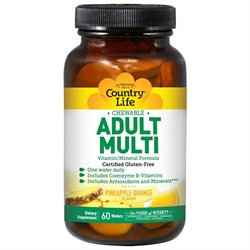 Country Life Vitamins Chewable Adults Multi Vitamins w/Antioxidants 60 Wafers, Country Life