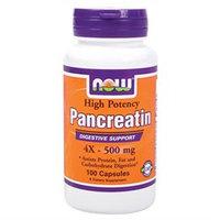 NOW Foods Pancreatin 4X, 500mg, Capsules, 100 ea
