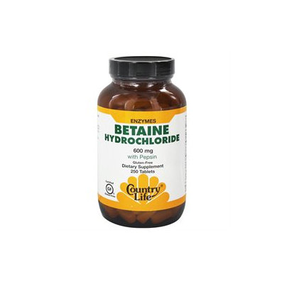 Country Life Betaine Hydrochloride - 600 mg - 250 Tablets