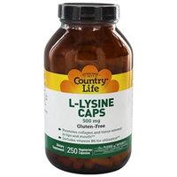 Country Life Vitamins Country Life L-Lysine Caps - 500 mg - 250 Vegetarian Capsules