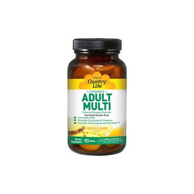 Country Life Vitamins Chewable Adults Multi Vitamins, 120 Wafers, Country Life