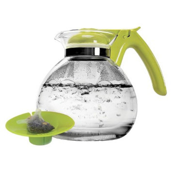 Primula 2Qt Whistling Glass Tea Kettle with Tea Bag Buddy - Green