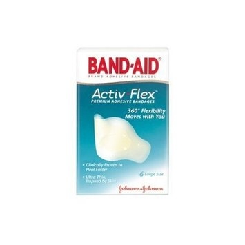 Band-Aid Brand Adhesive Bandages, Activ-Flex Premium Adhesive Bandages, 6-Count Large Bandages (Pack of 4)