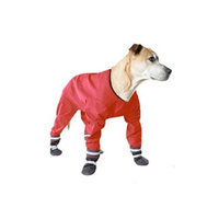 Muttluks 4-Legged Dog Jog Rain Suit, Size 16, Red