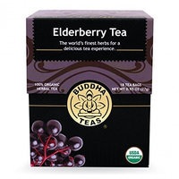 Buddha Teas Elderberry 100 Percent Organic Herbal Tea 18 Bags Per Packet