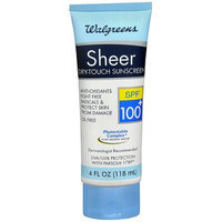 Walgreens Sheer Dry-Touch Sunscreen Lotion SPF 100+