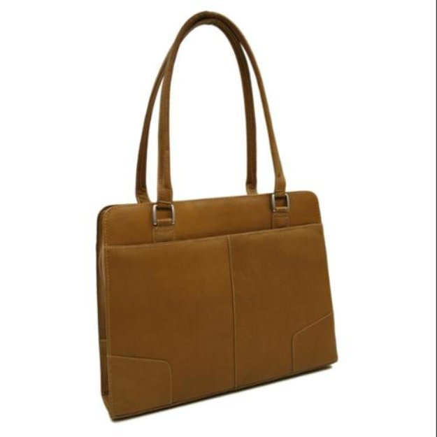 Piel Leather Hardside Shoulder Tote w Double Handles in Chocolate