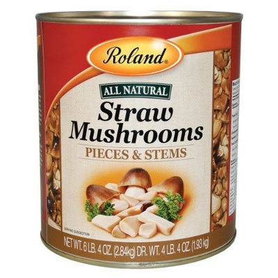 Roland Pieces & Stems Straw Mushrooms, 6.4-Pound Cans (Pack of 2)