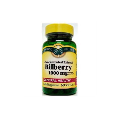 Spring Valley Bilberry Softgels, 1000mg, 60 count