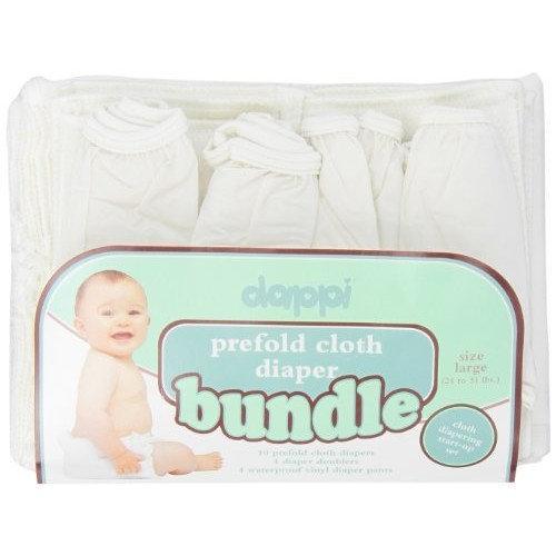 Dappi Prefold Cloth Diaper Bundle, White, Medium