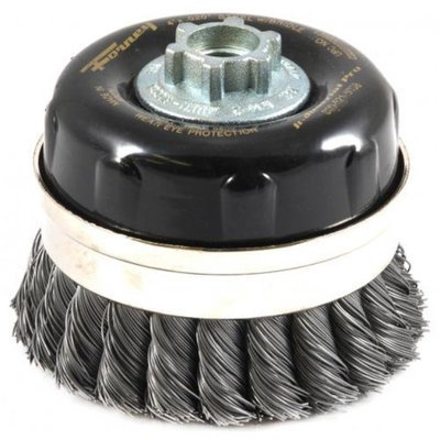 Forney 72869 Wire Cup Brush Industrial Pro Twist Knot with Bridle 5/8-Inch-11 and M14-by-2.0 Multi A