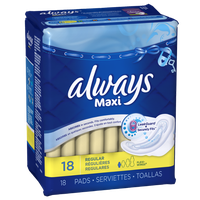 Always Maxi Regular with Wings, Unscented Pads 18 Count