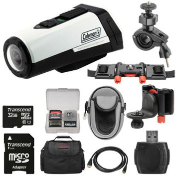 Coleman Aktivsport CX9WP GPS HD Video Action Camera Camcorder (White) with 32GB Card + Cases + Kit