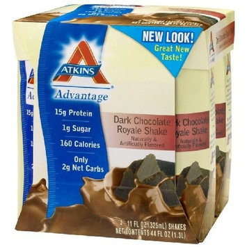 Atkins Advantage Ready-to-Drink Shakes, Dark Chocolate Royale Shake, 11 oz, 24 shakes, 1 case