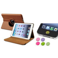 Insten iPad Mini 3/2/1 Case, by INSTEN Brown 360 Leather Case Cover+Home Sticker for iPad Mini 3 2 1
