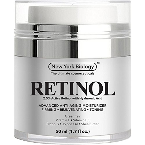 New York Biology Retinol Cream for Face with Hyaluronic Acid - Daily Moisturizer Cream Helps Fight Signs of Aging and Get Rid of Wrinkles from Face and Eye Area 1.7 fl oz []