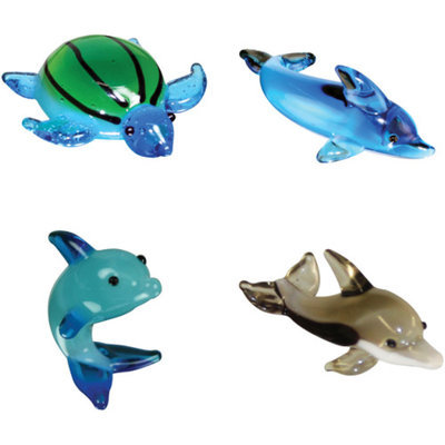 BrainStorm Looking Glass Miniature Glass Figurines, 4-Pack, Myrtle Sea Turtle/TaliWalk Dophin/Dexter Dolphin/Twister Spinner Dolphin