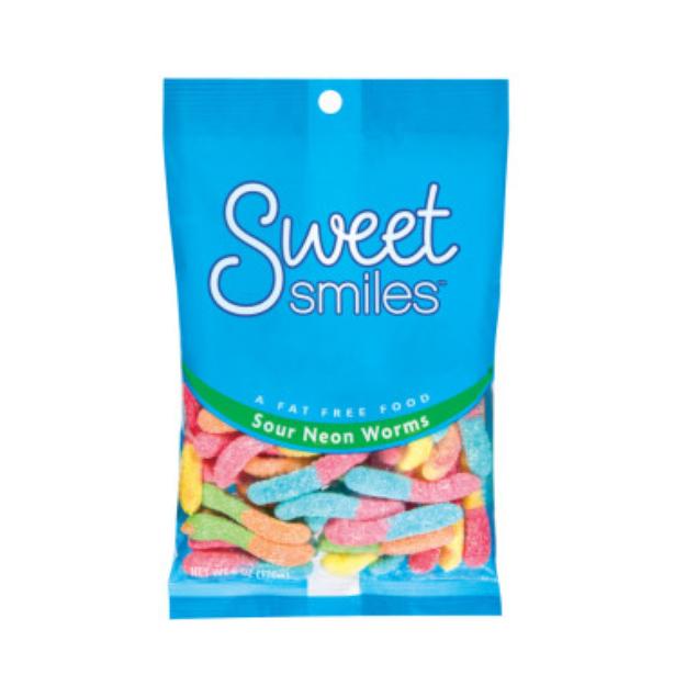 Sweet Smiles Sour Neon Gummy Worms - 7 oz.
