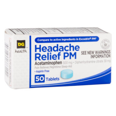 DG Health Headache Relief PM - Tablets, 50 ct