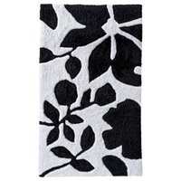 Room Essentials Floral Bath Rug - Black/White (20x34)