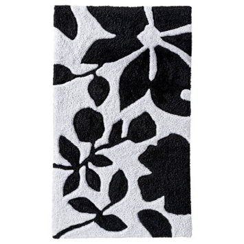 Room Essentials Floral Bath Rug - Black/White (20x34)