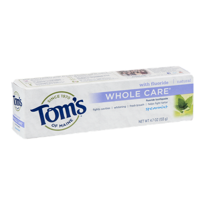 Tom's Of Maine Whole Care Flouride Toothpaste Spearmint