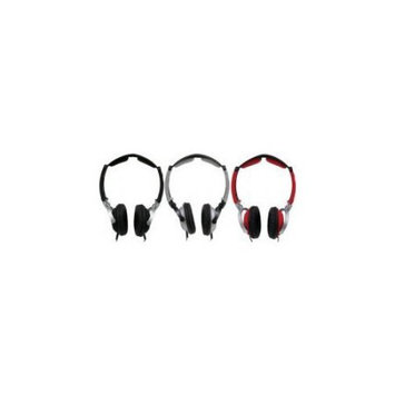 MobileSpec MS60R Lightweight Folding Stereo Headphones Red- Black