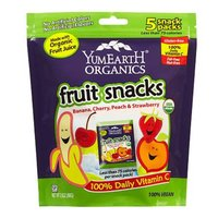Yummy Earth Organic Fruit Snacks, Banana, Cherry, Peach & Strawberry, 5 ea