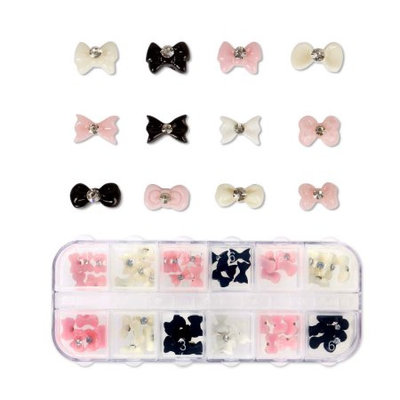Bundle Monster BMC 60pc Mixed Color Acrylic Bows DIY 3D Nail Art Stud Decoration Set-Bow Craze