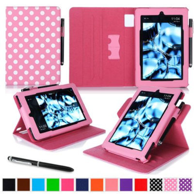 Kindle Fire HD 7 Tablet (2014) Case, roocase new Kindle Fire HD 7 Dual View Folio Case with Sleep / Wake Smart Cover Stand for All-New 2014 Fire HD 7 Tablet (4th Generation), Polkadot Pink