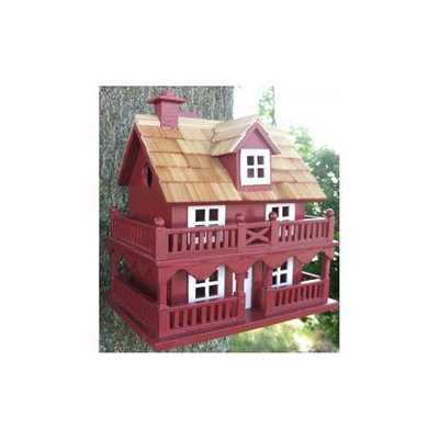 Home Bazaar HB6102PHRS Novelty Cottage Birdhouse Classic Series Red