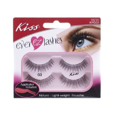 Kiss Ever Ez False Lashes Double Pack Kpd04 56735 with Adhesive and Applicator