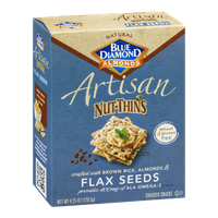 Blue Diamond Almonds Artisan Nut-Thins Flax Seeds Cracker Snacks