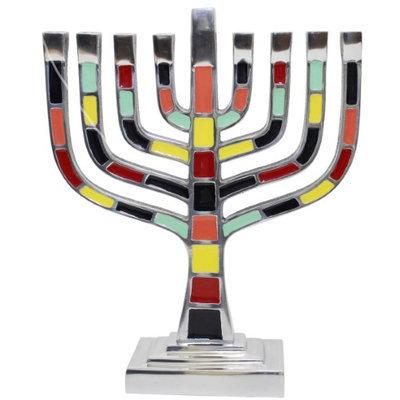 Artsy Casa Lamp Lighters Ultimate Judaica Menorah Pewter Multi Color - 9.5H