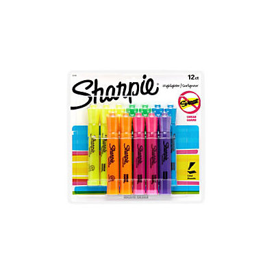Sharpie Tank-Style Highlighters, 12 Colored Highlighters