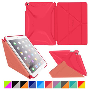 iPad Air 2 Case - roocase Origami 3D iPad Air 2 2014 Slim Shell Case Smart Cover with Sleep / Wake for Apple iPad Air 2 (2014) 6th Generation Latest Model, Persian Rose / Ruddy Pink