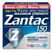 Zantac 150 Maximum Strength Acid Reducer, 150mg Tablets, (65 + 13), 78 ea
