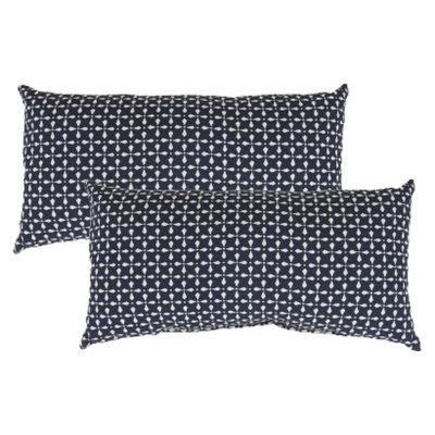 Threshold 2-Piece Outdoor Lumbar Pillow Set - Navy Geometric