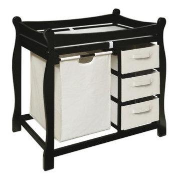 Badger Basket Changing Table with Hamper and Baskets - Black