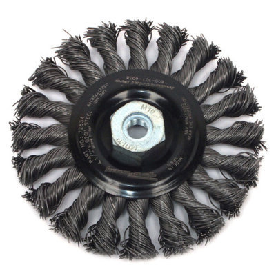 Forney 72834 Wire Wheel Brush Industrial Pro Twist Knot with M10-by-1.50/1.25 Multi Arbor 4-1/2-Inch
