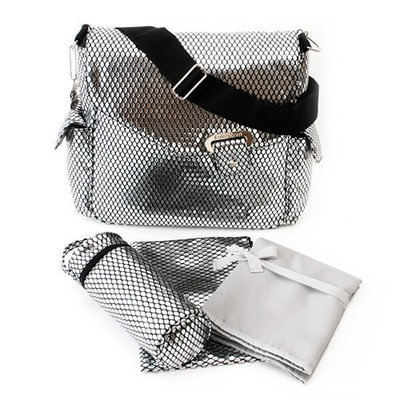 Kalencom Ozz Metallic Messenger Bag, Silver Drops