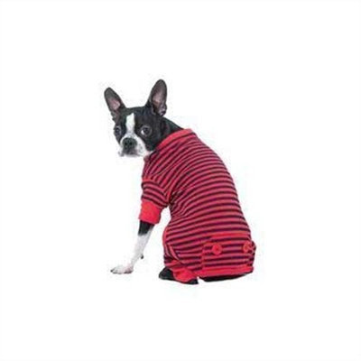 Fashion Pet Lookin Good Striped Pajamas for Dogs, X-Small, Red