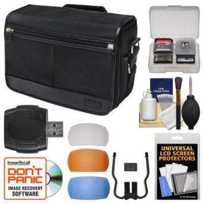 Nikon DSLR Camera/Tablet Messenger Shoulder Bag with Pop-up Filter Set + Kit for D3200, D3300, D5200, D5300, D7000, D7100, D610, D750, D810, Df, D4S