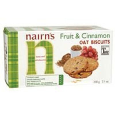 Nairns Fruit and Cinnamon Oat Biscuit, 7.1 Ounce -- 12 per case.